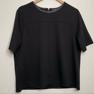 Lauren Ralph Lauren Black Short Sleeve Zipper Back